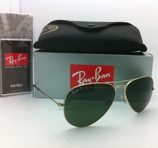 Polarized RAY-BAN Sunglasses LARGE METAL RB 3025 001/58 55-14 Gold Frame w/Green - $239.95