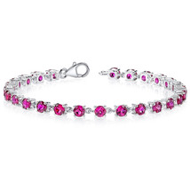 Women's Classic Sterling Silver Lab Created Ruby Tennis Bracelet - $199.99