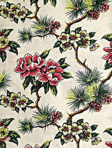 Vintage Tropical Floral Pleated Curtains One Panel Craft Cutter - $11.88