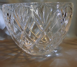 Crystal Fruit~Punch Bowl 24% Lead Crystal Cross Cut Diamond Pattern - $19.99