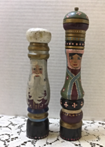 Vintage Hand Painted Wood Pepper Mill & Salt Shaker Christmas Whimsical - $15.00