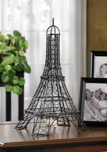 "Black Metal Eiffel Tower Tea Light Candle Holder French Decor 15.5"" High - $37.45"