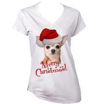 Merry Christmas Chihuahua 2   New White Cotton Lady Tshirt - $22.26