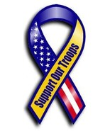 Support Our Troops Magnet (Yellow w/red, white and blue) - $4.20