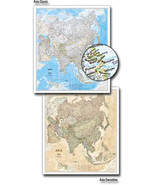 """Asia National Geographic - 38"""" x 34"""" Wall Map (Classic-Laminated) - $29.99"""