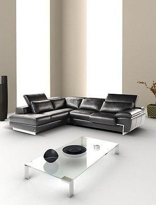 J&M Oregon II Full Top Grain Leather Italian Sectional Sofa Modern Left