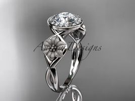 Unique 14kt white gold diamond flower wedding ring, engagement ring ADLR219 - $1,275.00