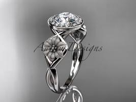 Unique 14kt white gold diamond flower wedding ring, engagement ring ADLR219 - $1,275.00