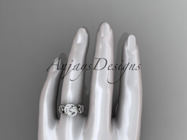 Unique 14kt white gold diamond flower wedding ring, engagement ring ADLR219