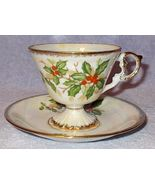 Vintage Decorative Christmas Holly Porcelain Cup and Saucer  - $11.95