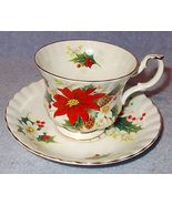 Royal Albert Bone China Porcelain Poinsettia Christmas Cup and Saucer - $12.95