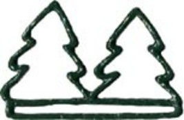 "Double Green Tree christmas metal bellpull 4.5"" opening cross stitch Mil... - $11.70"