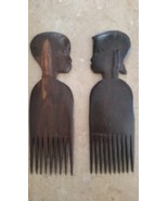 Vintage Hand Carved Wood Hair Picks Combs Lot, Hand Made in Kenya - $24.99