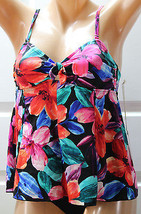 Nwt New Caribbean Joe Floral Swim Tankini Top Multi-Color Size 10 No Straps! - $12.86