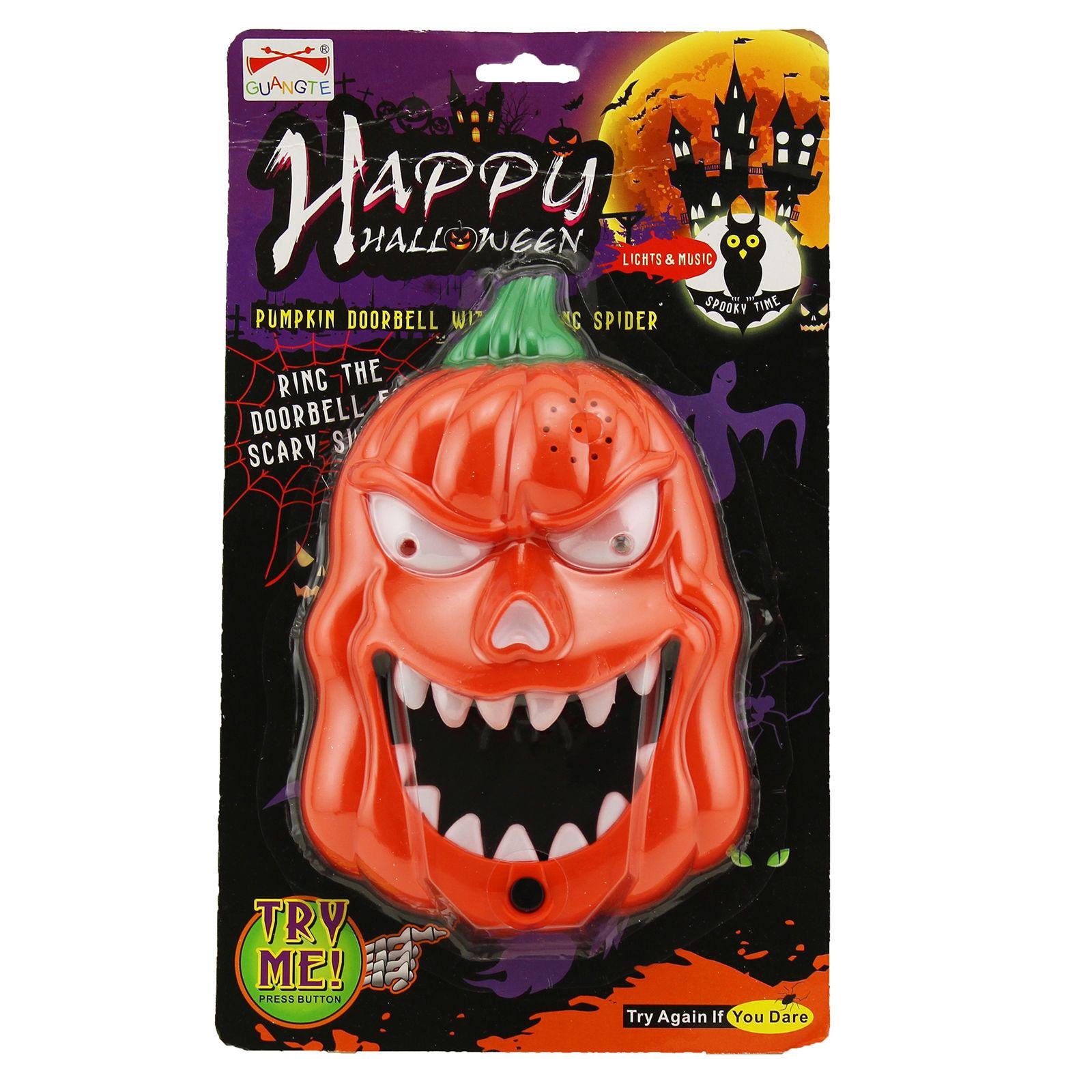 Halloween LED Flashing Sound Pumpkin Doorbell Talking Jack O Lantern Decoration