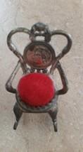 Antique Minniature Metal Rocking Chair Pin Cushion - $23.00