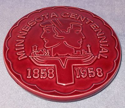 Primary image for Red Wing Minnesota Pottery Centennial Trivet 1858 1958 Red Burgundy