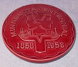 Red Wing Minnesota Pottery Centennial Trivet 1858 1958 Red Burgundy - $49.95