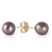 4 Carat 14k Solid Yellow Gold Stud Earrings Natural Black Pearl - $47.97