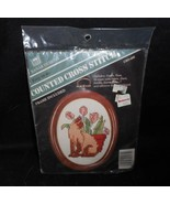 VINTAGE BANAR DESIGNS NEEDLEPOINT COUNTED CROSS STITCH CAT W/ FLOWER IN ... - $13.10