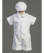 Christening & Baptism Polycotton Short Set with Basketweave Vest  - $30.00
