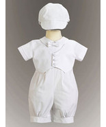 Cotton Romper with Pique Vest for Christening and Baptism - $29.00