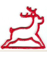 "Red Reindeer christmas metal bellpull 4.5"" open... - $11.70"