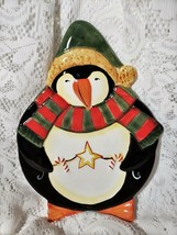 Certified International Midnight Penguin Figurine Candy Plate Christmas ... - $19.74