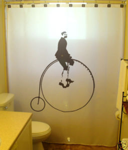 SHOWER CURTAIN Penny Farthing Cyclist bicycle vintage