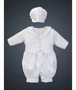 3-6 Months Poly Shantung Eton Romper with Hat - $37.00