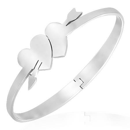 Stainless Steel Double Hearts Hinged Bangle Bracele