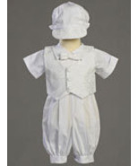 0-3 Months Poly Cotton Christening Romper Set with Vest - $30.00