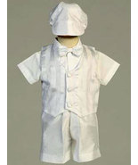 Boys Shantung Striped Organza Christening & Baptism Outfit - $32.00