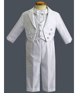 3-6 Months Boys Shantung Striped Organza Christening & Baptism Outfit - $48.00