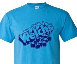 Welch's Grape Soda T-shirt distressed heather blue retro 1980's 50/50 tee image 1