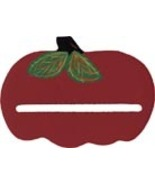 "Wooden Red Apple bellpull 4.75"" opening cross s... - $9.00"