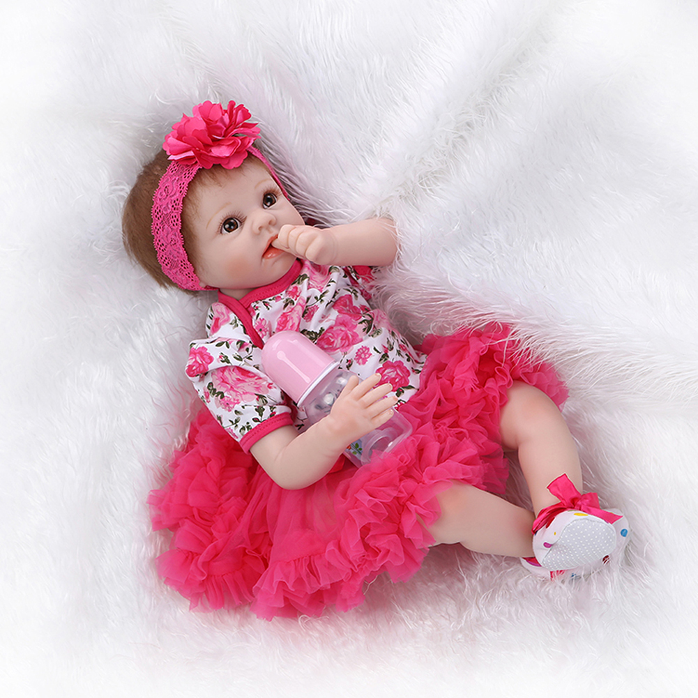 """22"""" Lifelike Silicone Reborn Baby Girl Doll Rose Tutus Stuffed Collectible Toys for sale  USA"""