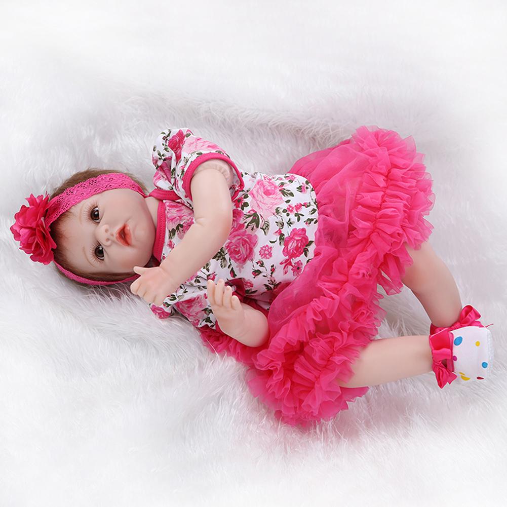 "22"" Lifelike Silicone Reborn Baby Girl Doll Rose Tutus ..."