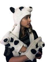 Hand Knitted -100% Yak Wool Hand Knit Hat,Scarf,Mittens-Panda- Nepal - ₨4,101.95 INR