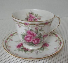 "LONDON COLLECTION ""E"" by Duchess China Footed TEA CUP & SAUCER Pink Rose... - $29.09"