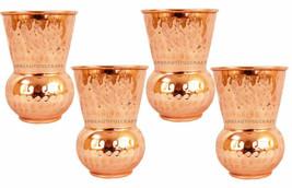 Handmade Drinking Glass Copper Water Glass Set Tumbler Hammered Finish, ... - $35.04