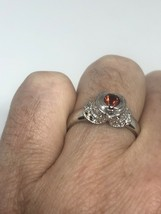Vintage Garnet White Sapphire Deco Band Ring 925 Sterling Silver Size 6.5 - $51.52