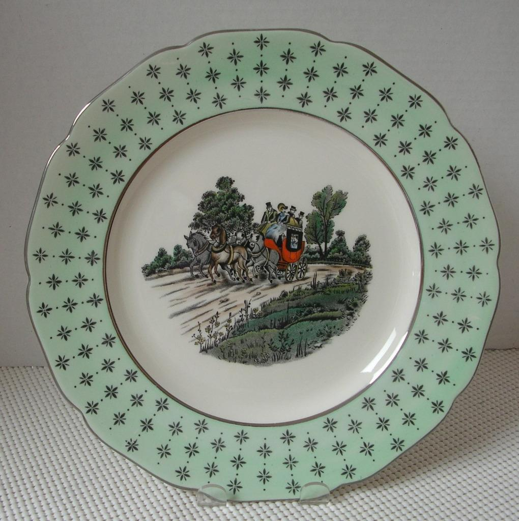 Primary image for GRAYS POTTERY PLATE A 4030 Horse & Carriage Scene Stagecoach Green Band England