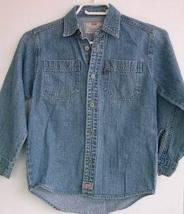Levis Blue Denim Shirt Boys Girls 6 6X Jean Red Tab Metal Buttons - $6.93