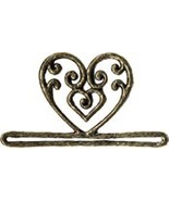 "Antique Gold Filigree Heart metal bellpull 3.25"" opening cross stitch Mi... - $12.60"