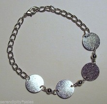 "10 SILVER  BRACELET Blanks Forms 4 Round pads 15mm (~ 5/8"") Adjustable Length - £12.78 GBP"