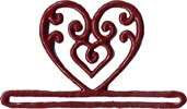 "Primary image for Red Filigree Heart metal bellpull 3.25"" opening cross stitch Mill Hill"