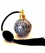 Perfume Bottle Black White Spatter Glass Hand Blown Atomizer with Tassel  - £28.33 GBP