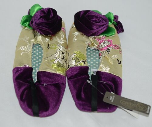 Snoozies Brand Coventry Collection Gold Purple Womens Slippers Size SM
