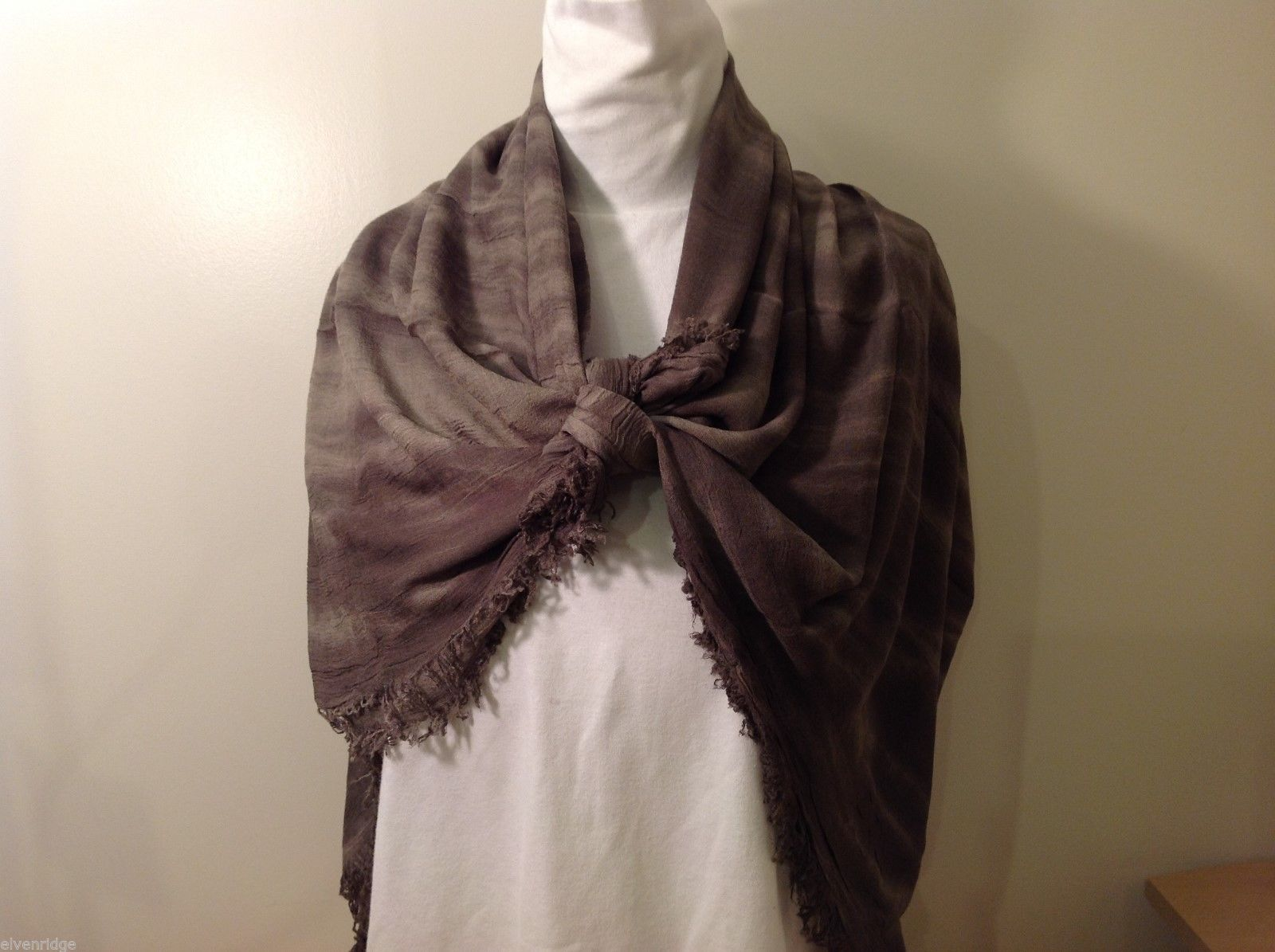 Charcoal Gray Scarf with Tie Die Design, New w/ Tags